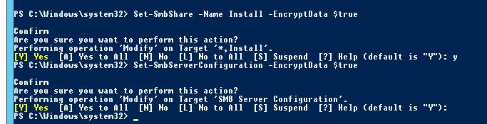 Set-SmbServerConfiguration включить шифрование SMB