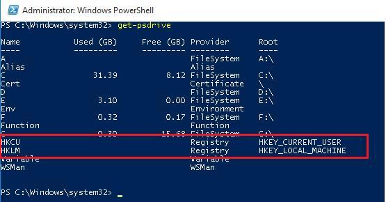 get-psdrive: ветки реестра в powershell как диски