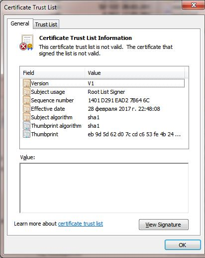Certification Trust List
