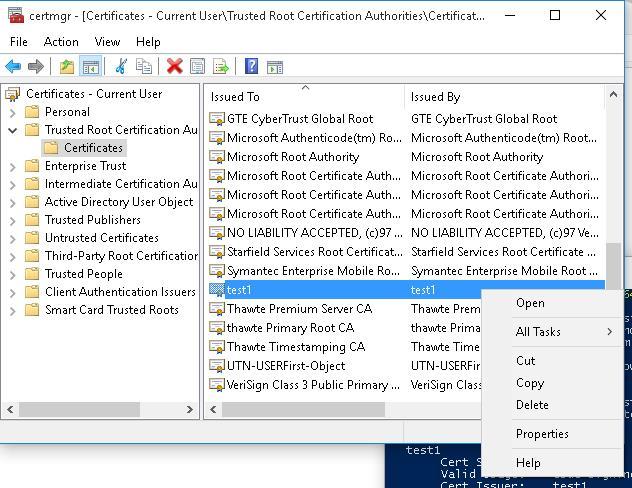 Удаление недоверенных сертификатов