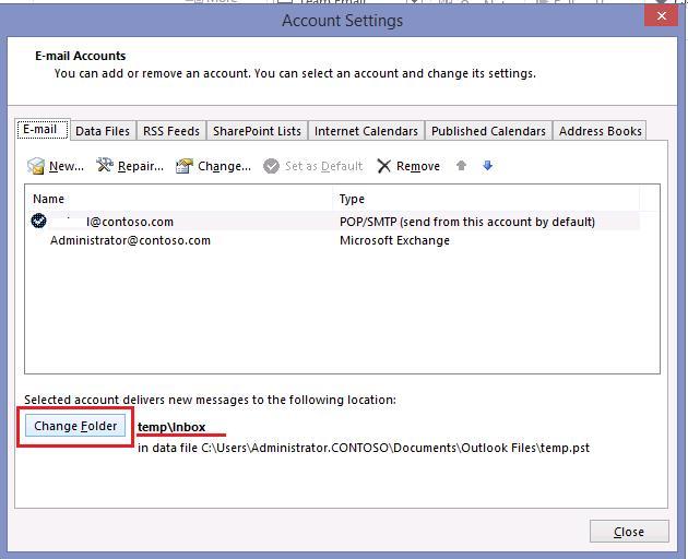 Временный pst файл с папкой Входящие