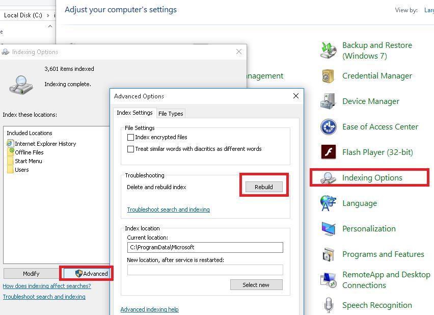 Переиндексация базы Windows Search