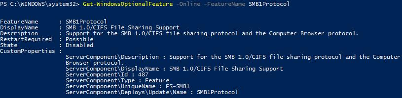 Get-WindowsOptionalFeature –Online FeatureName SMB1Protocol
