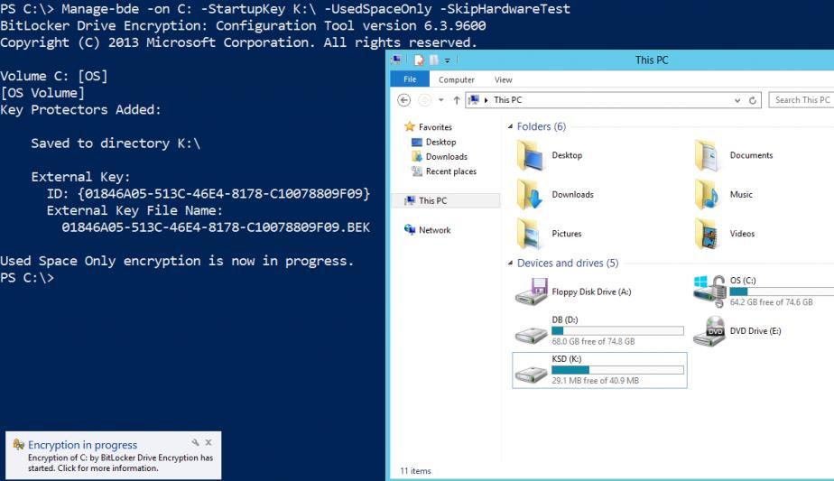 Manage-bde - команда шифрования системного диска с помощью bitlocker