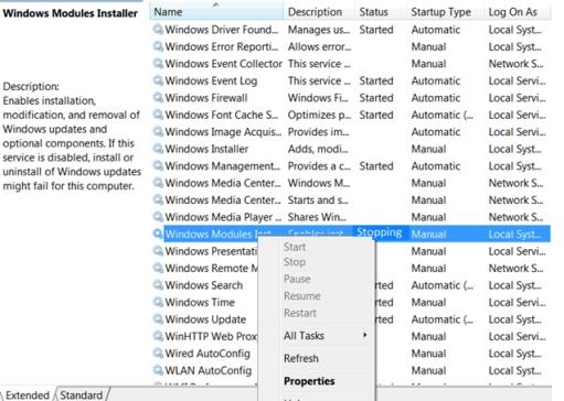Windows Modules Installer (Установщик модулей Windows), завис в состоянии Stopping