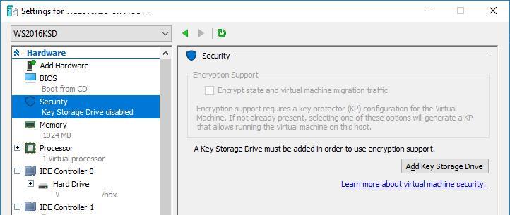 Добавить Key Storage Drive в Hyper-V