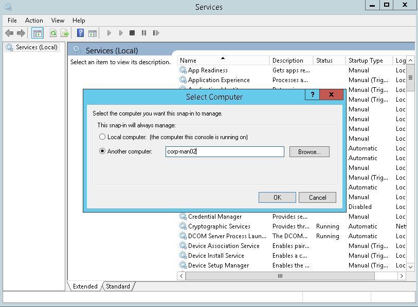 services.msс подключение к удаленному серверу