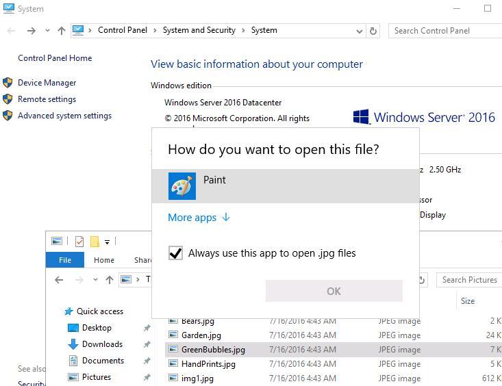 В windows server 2016 с графическими файлами ассоциирован только paint