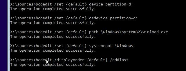 bcdedit.exe /displayorder {default} /addlast