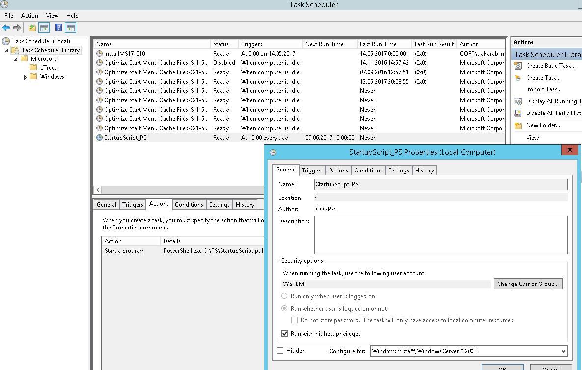 Новое задание планировщика, созданное с помощью PowerShell
