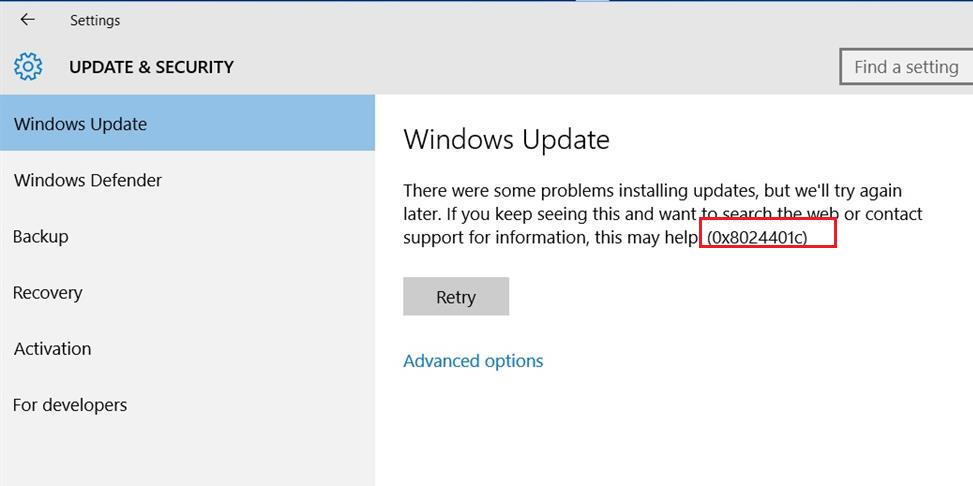 windows 10 ошибка поиска обновлений на wsus 0x8024401c