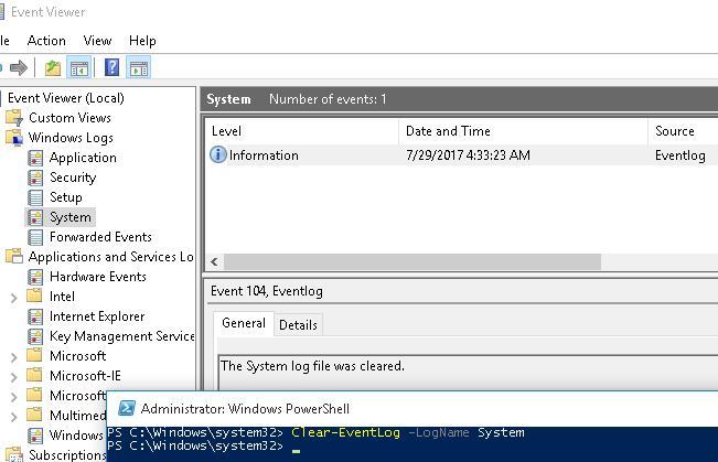 Очистка журналов фиксируется событием EventId 104 с текстом «The System log file was cleared»