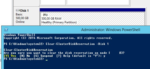 Clear-ClusterDiskReservation –Disk 1