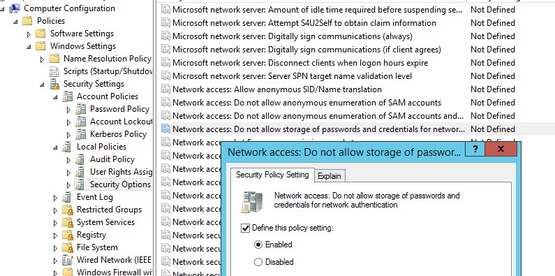 Network access: Do not allow storage of passwords and credentials for network authentication