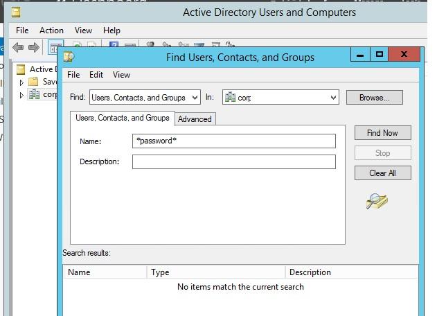 Поиск групп и пользователей в консоли ADUC
