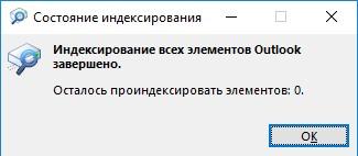 Индексирование всех элементов Outlook завершено
