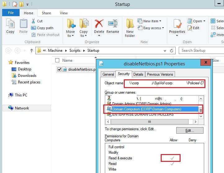 ntfs разрешения на stratup скрипт powershell в sysvol для Domain Computers