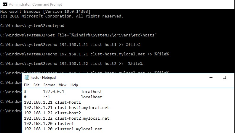 добавление строк в файл hosts