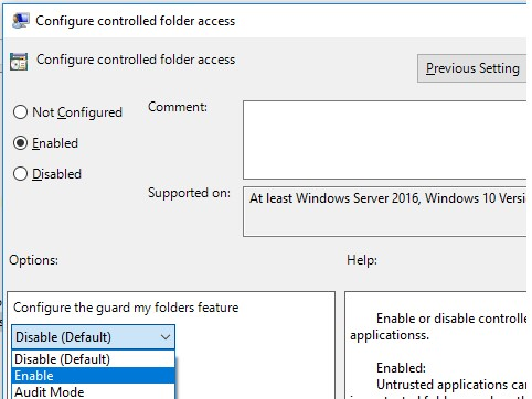 Групповая политика Configure Controlled folder access
