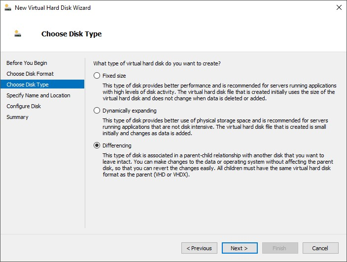 Новый дифференциальный диск в консоли hyper v manager