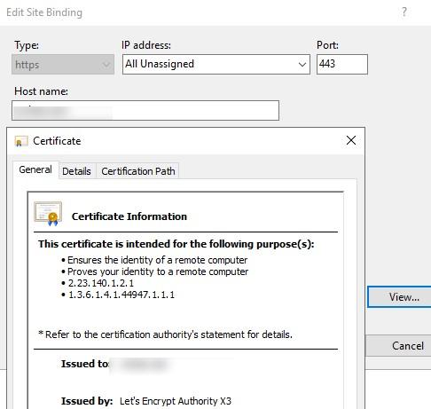 сертфикат сайта IIS подписан Let's Encrypt Authority X3