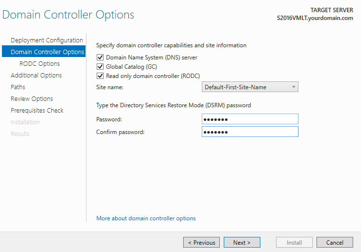 Параметры  нового контроллера домена RODC