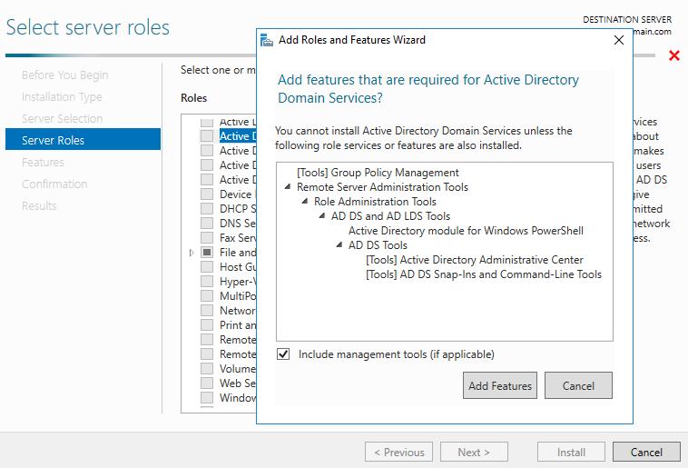 Установка роли Active Directory Domain Services