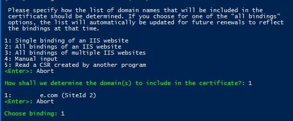 wac выбрать сайт iis для создания сертфиката ssl
