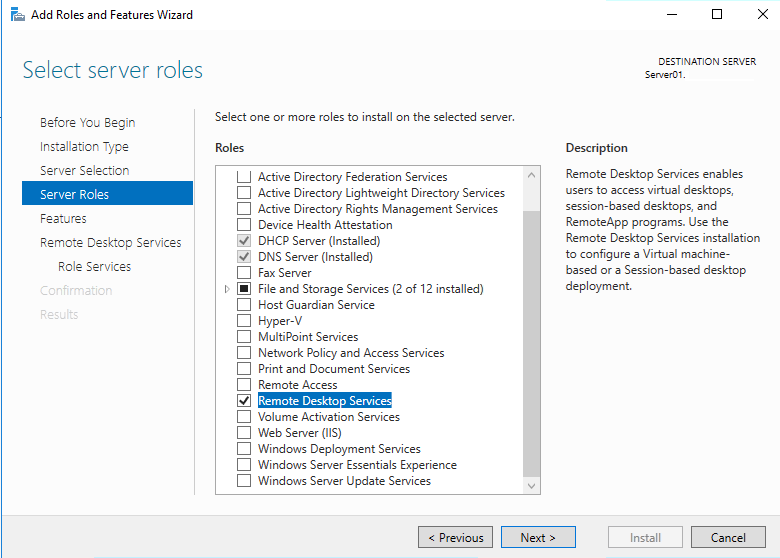 windows server 2016 роль Remote Desktop Services