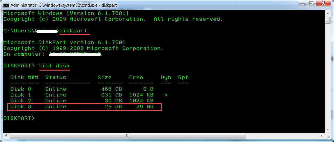 diskpart - определение номеров дисков