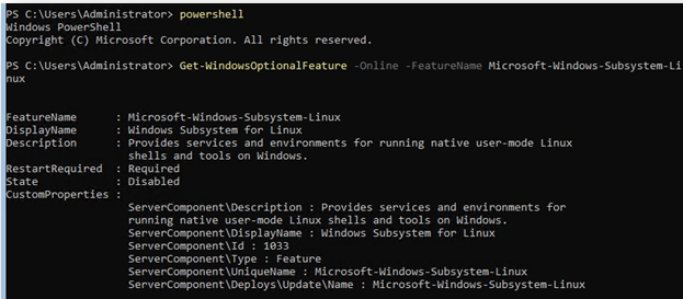 Get-WindowsOptionalFeature -Online -FeatureName Microsoft-Windows-Subsystem-Linux
