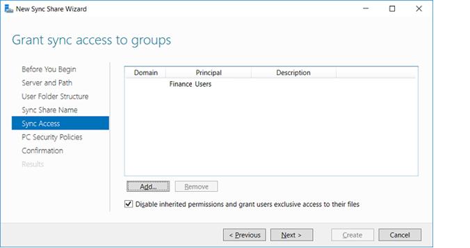 группа доступа к work folders