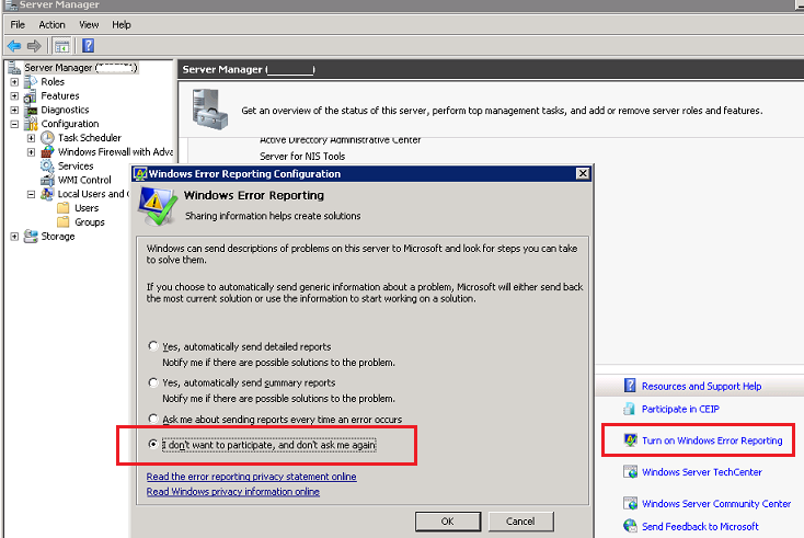 I don't want to participate, and don't ask me again - windows 2008 r2