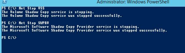 Net Stop VSS, Net Stop SWPRV