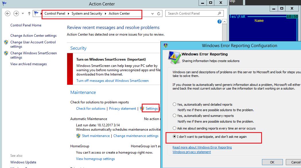 Отключение сбора ошибок службой WER в Windows Server 2012 / R2