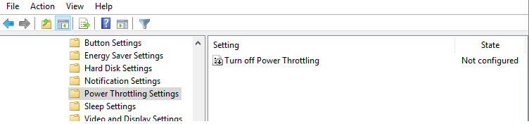 Turn off Power Throttling - групповая политика