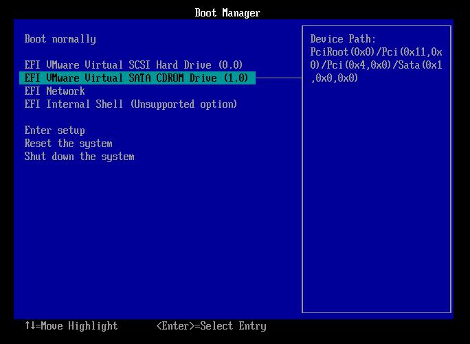 Vmware - загрузка с SATA CDROM в UEFI