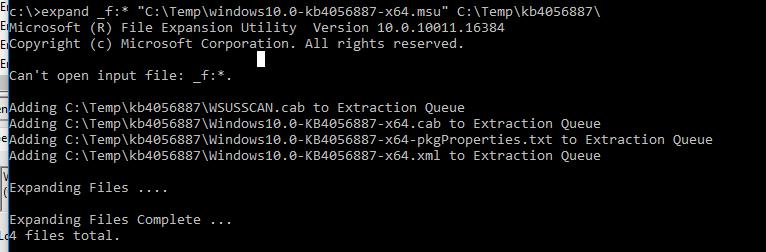 команда expand для распаковки msu пакета и получения cab файла