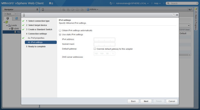 настройки сети интерфейса VMkernel