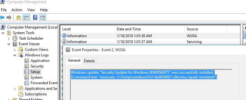 """Обновление Windows """"Security Update for Windows (KB4056887)"""" было успешно установлено"""
