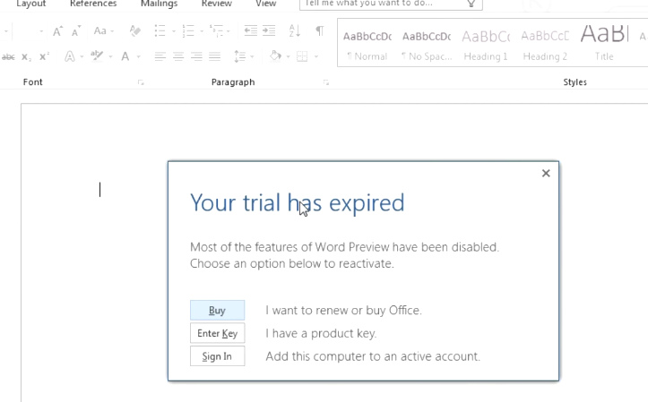 Office 2016 - you trial has expired