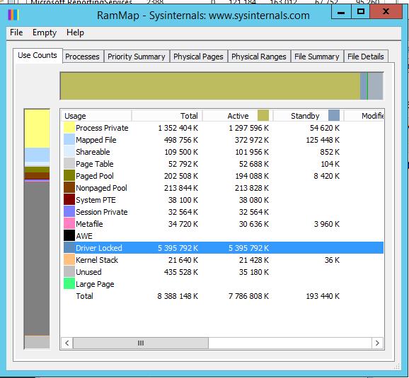 RamMap - Driver Locked память в виртуальной машине