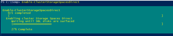Включить Storage Spaces Direct с помощью командлета Enable-ClusterStorageSpacesDirect