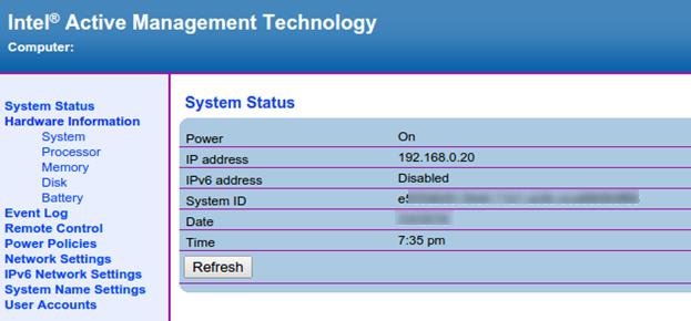 Веб-интерфейс Intel AMT