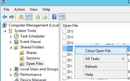 Закрыть открытые файлы в сетевой папке