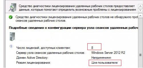 rds сервер лицензирован, пользовательские лицензии доступны