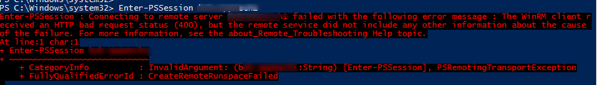 The WinRM client received an HTTP bad request status (400),