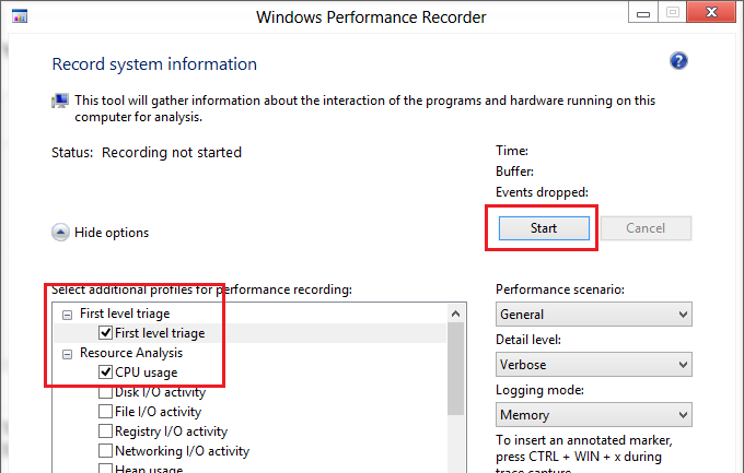 Windows Perfomance Recorder - анализ нагрузки на CPU