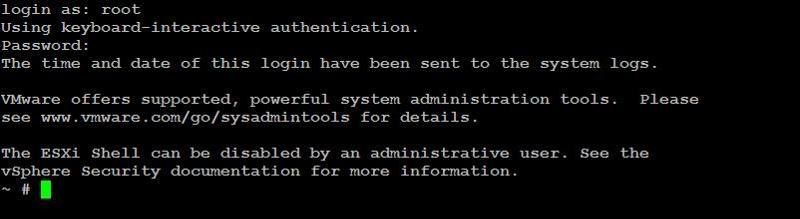 авторизация на esxi под root