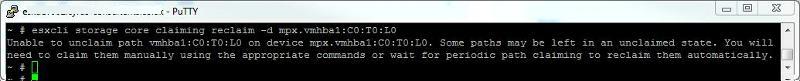 esxcli storage core claiming reclaim